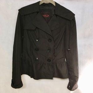 YOKI Black Button Down Outerwear Jacket w/ Peplum